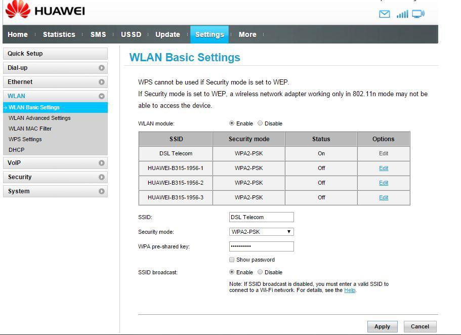 LTE | Huawei B315 / B525 | How to change my WiFi password