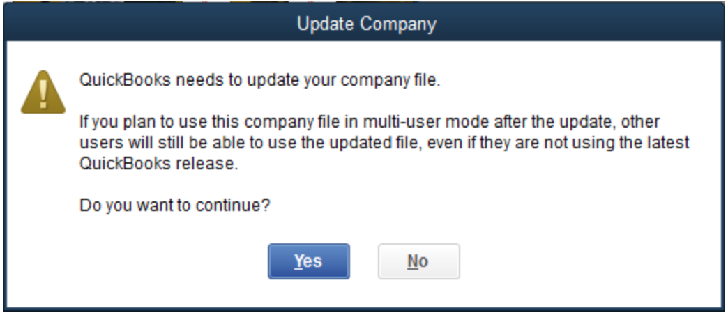 Getting an - Update Company File - prompt when opening Quickbooks