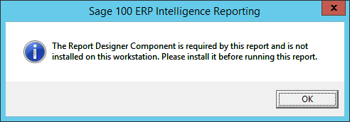 The Report Designer Component is required by this report and