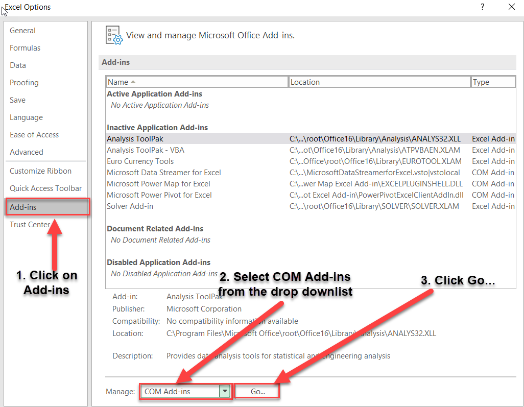 How to enable F9 COM Add-In in MS Excel