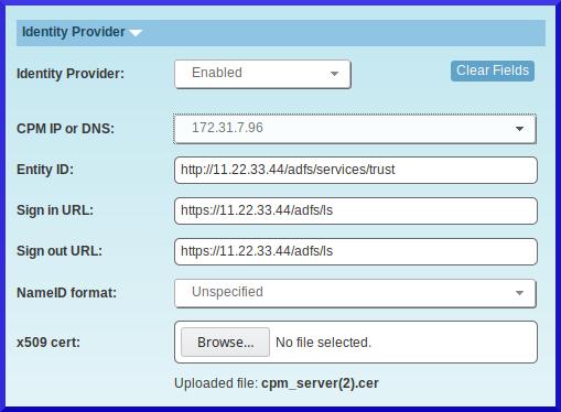 CPM server may display error Signature validation failed  SAML