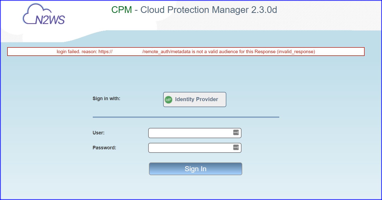 Login failure with the reason https://%cpm servername