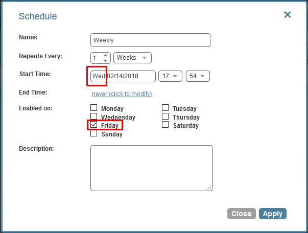 Weekly or monthly schedule may not work as expected when