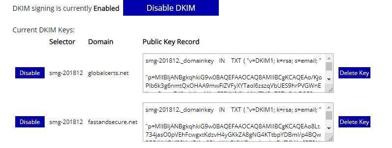 DKIM settings