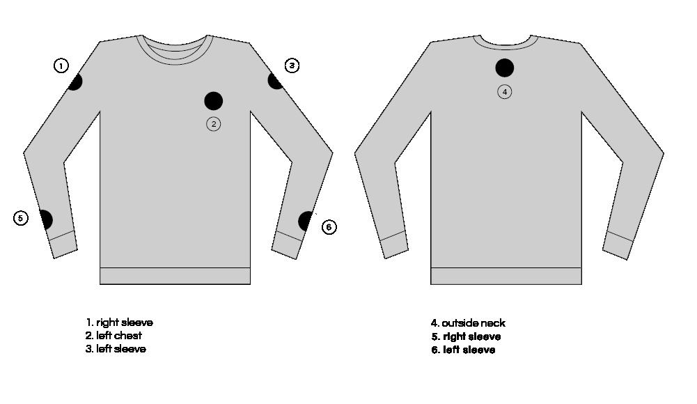 Custom Patch Sweatshirt Placement Locations