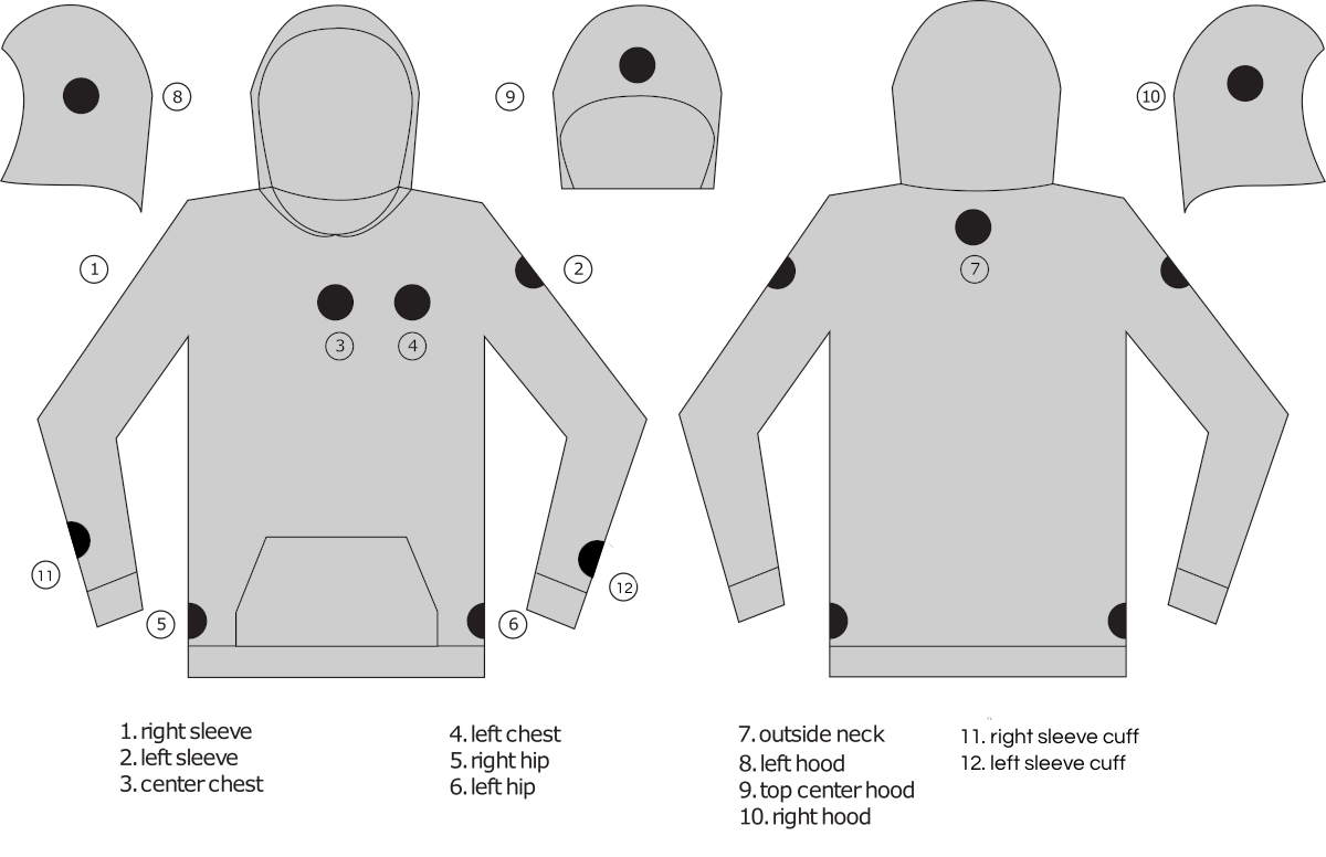 Hoodie Custom Patch Placement Options