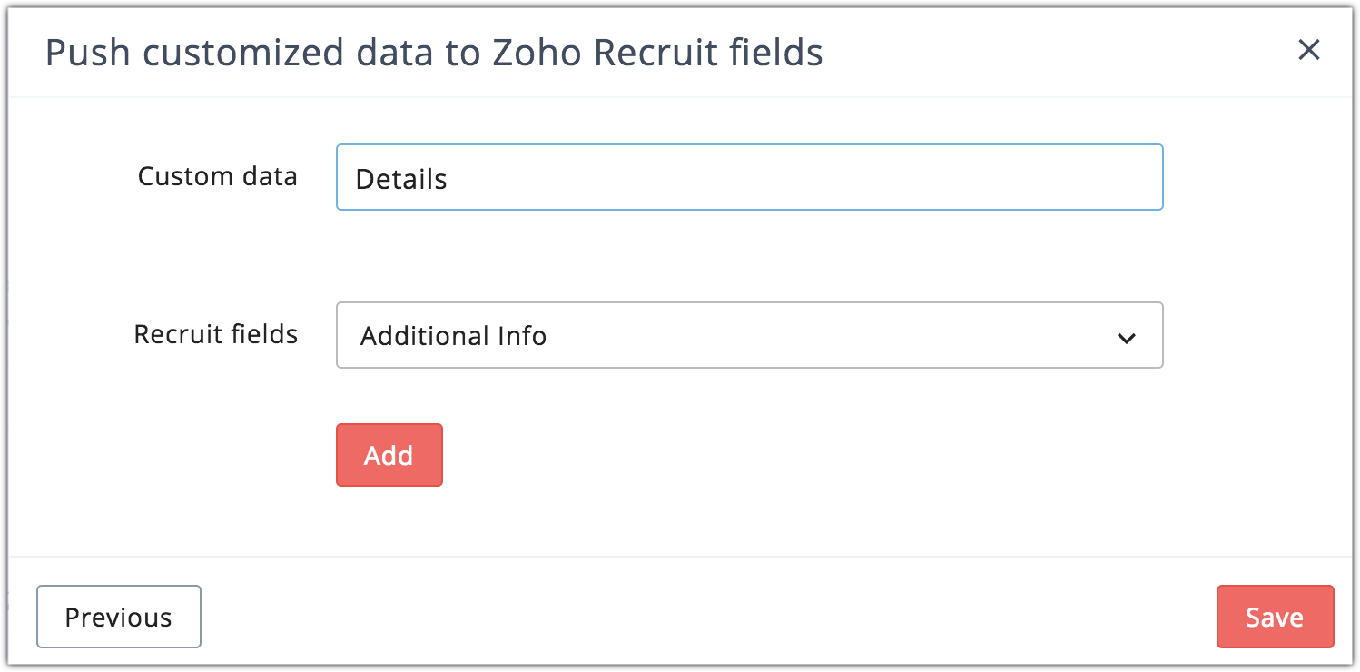 f0628604ca5 In the following step, you can map your custom data to a Zoho Recruits  field and push the recipient activities such as open and click or new custom  data to ...