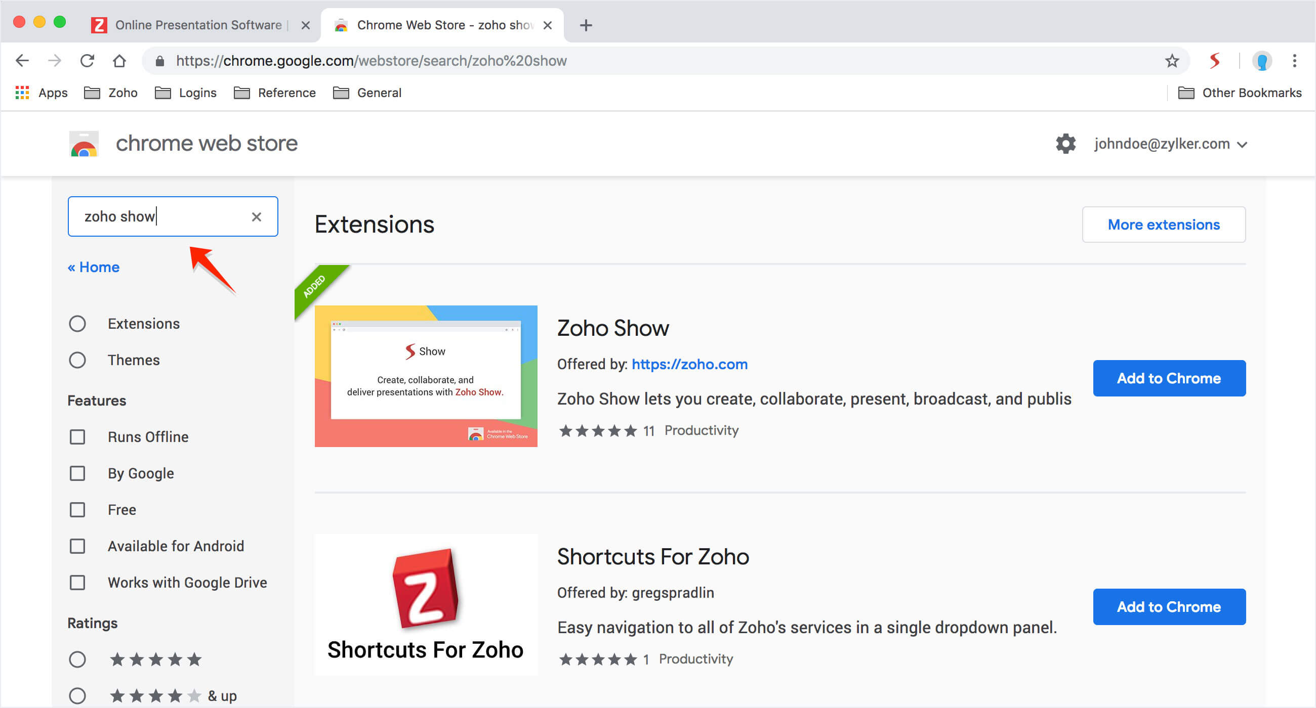How to install the Zoho Show extension for Chrome browser?