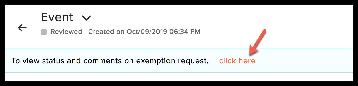 exemption request status