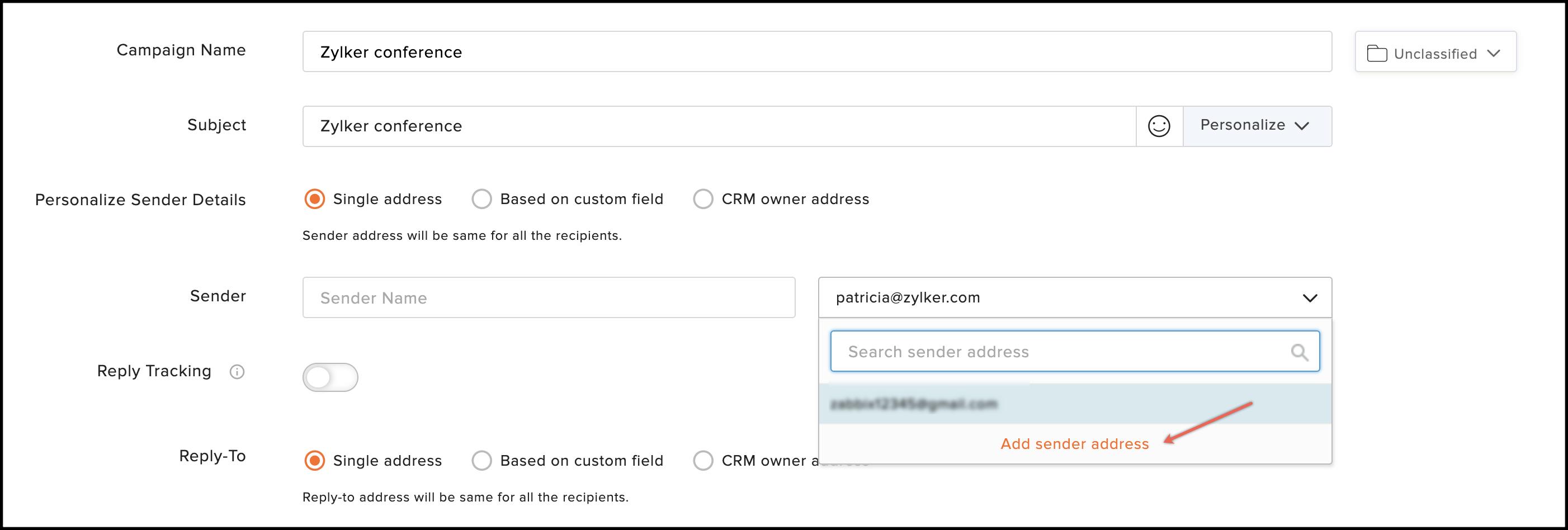 add sender address option