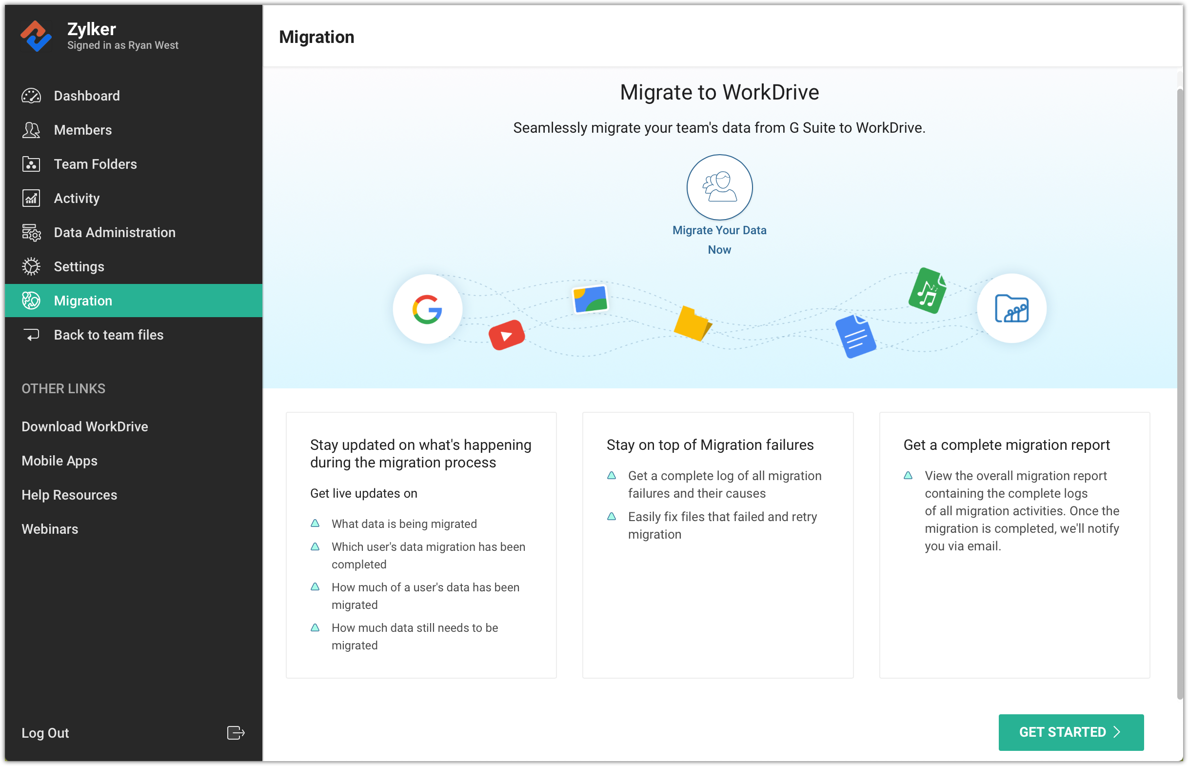 Admin Or migrate your data from g suite drive to zoho workdrive