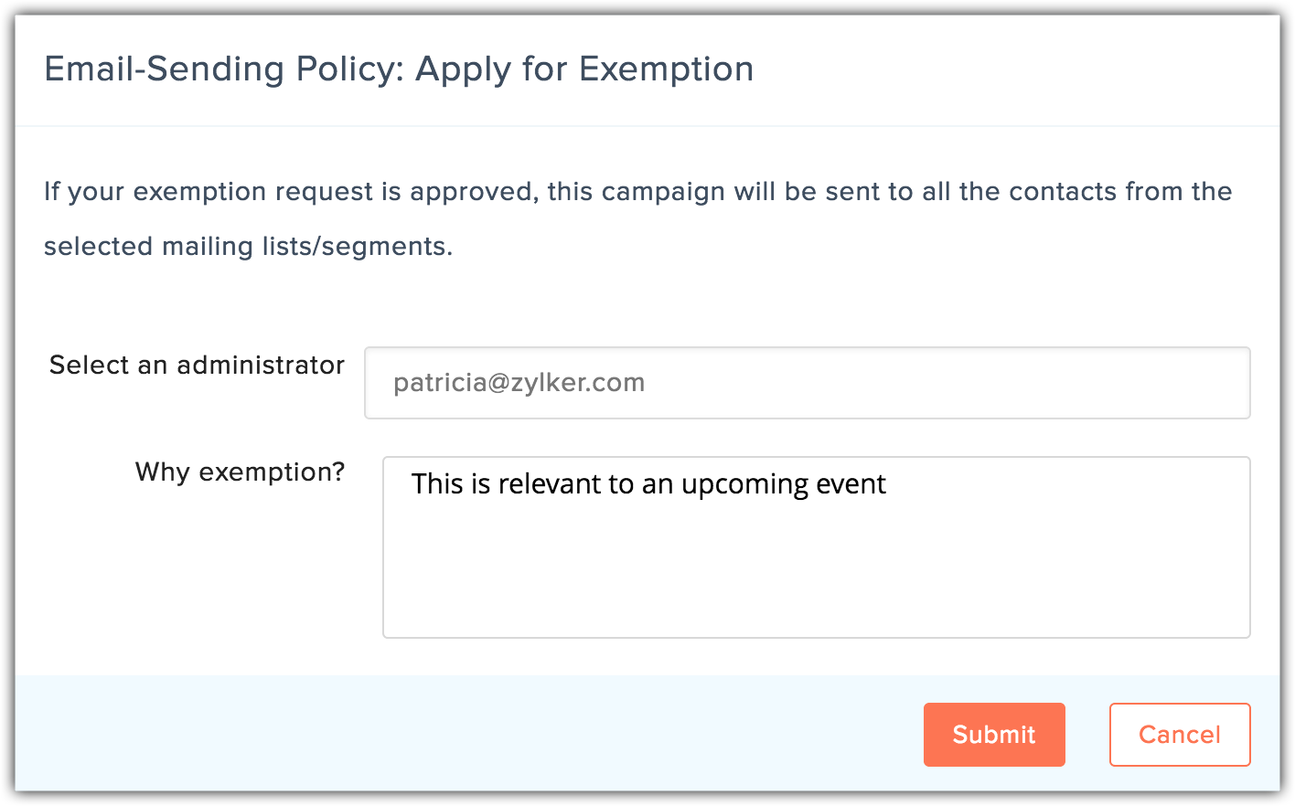 apply for exemption reason