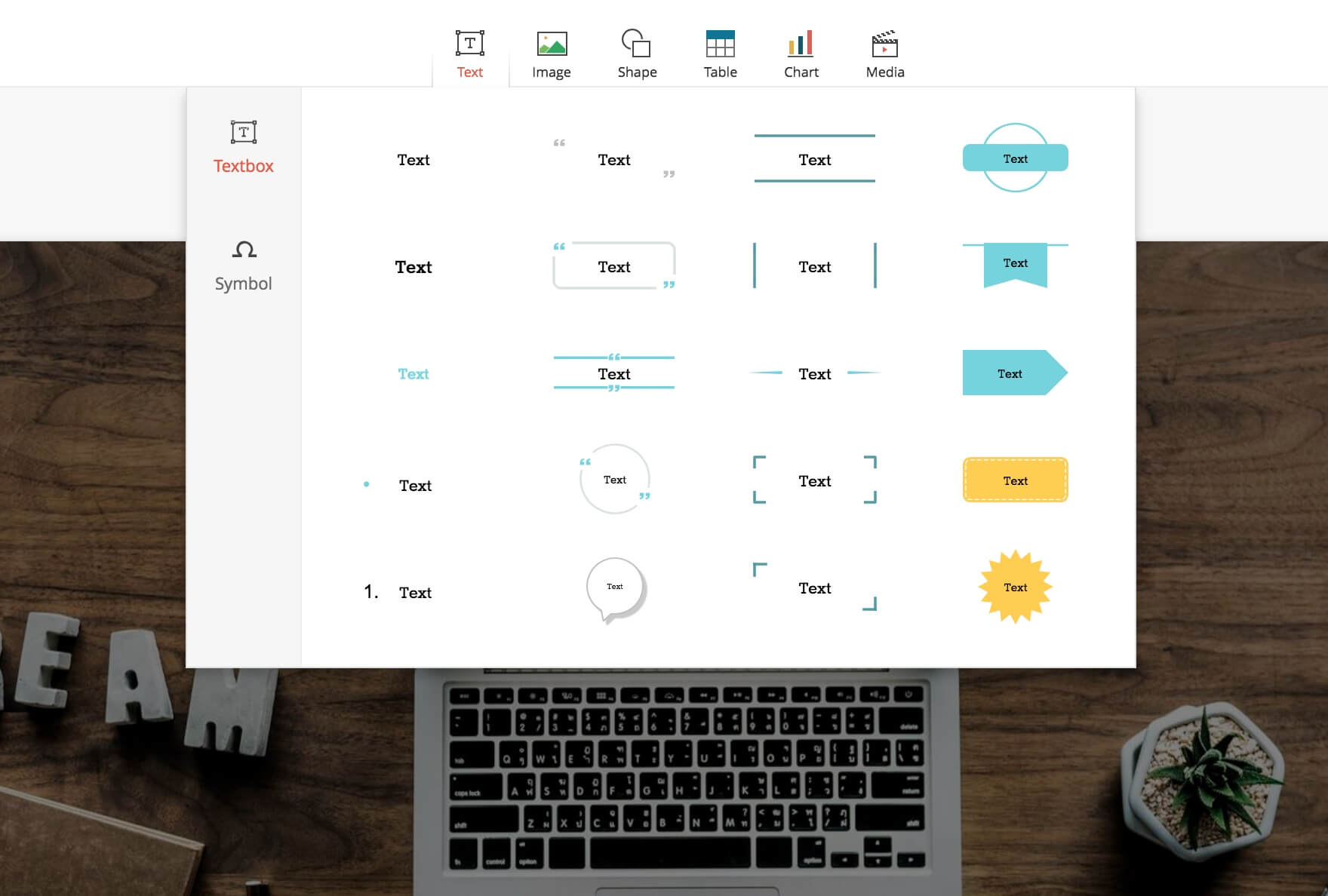 How To Insert Texts Symbols And Special Characters In Zoho Show
