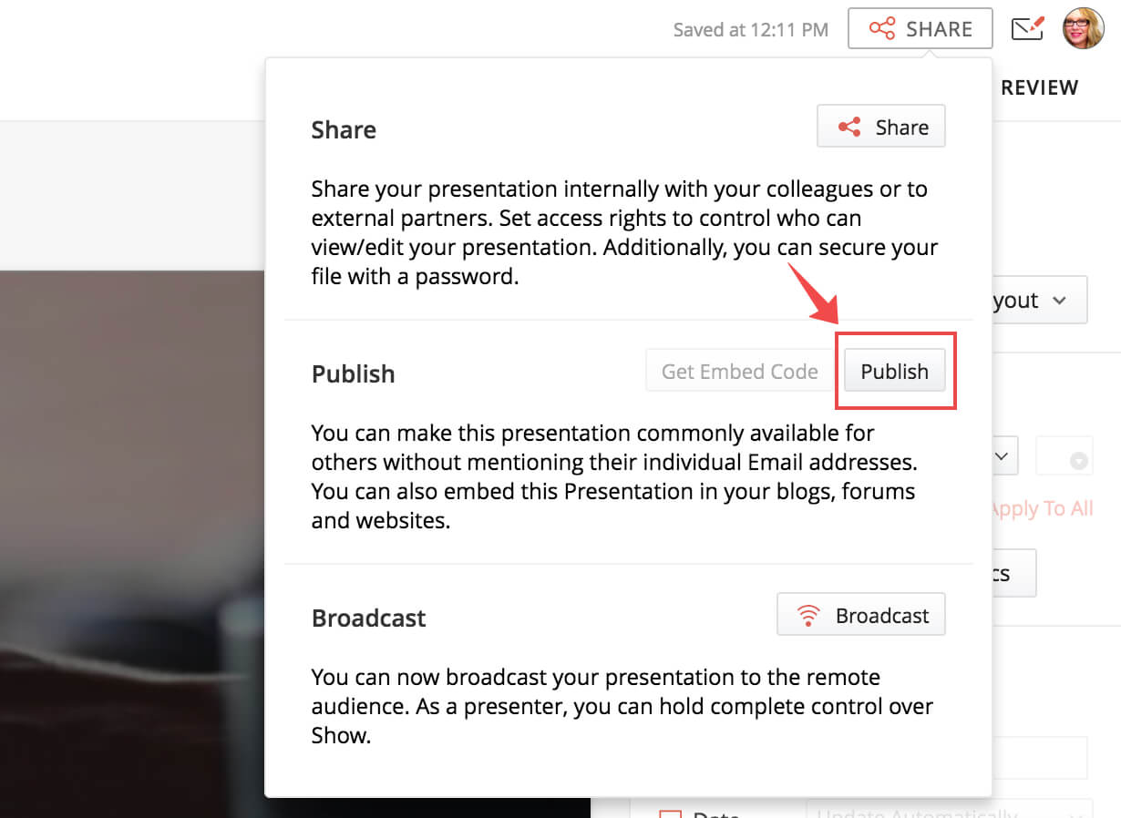 how to publish presentations online and embed on the web in zoho show