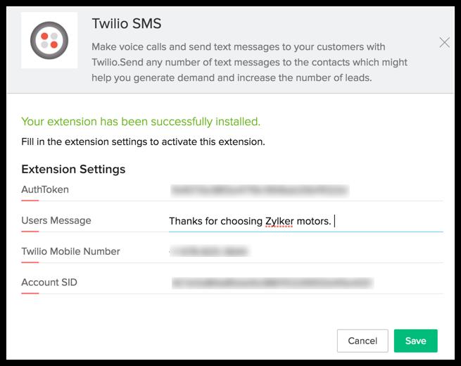 Twilio SMS Extension | Online Help - Zoho CRM