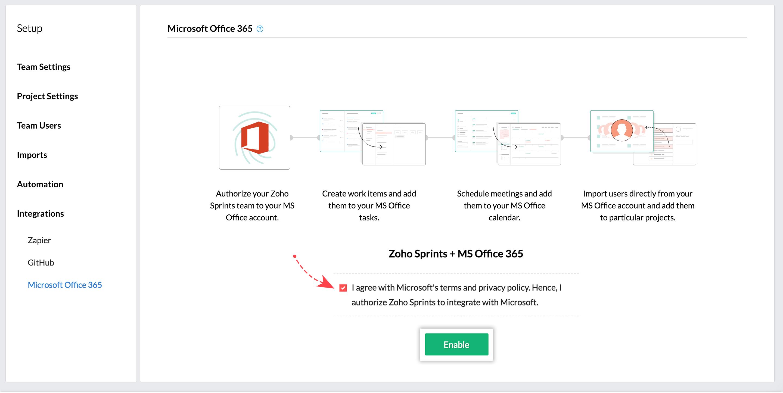 MS office 365 integration zoho sprints
