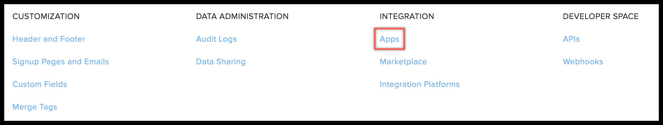 apps under integrations