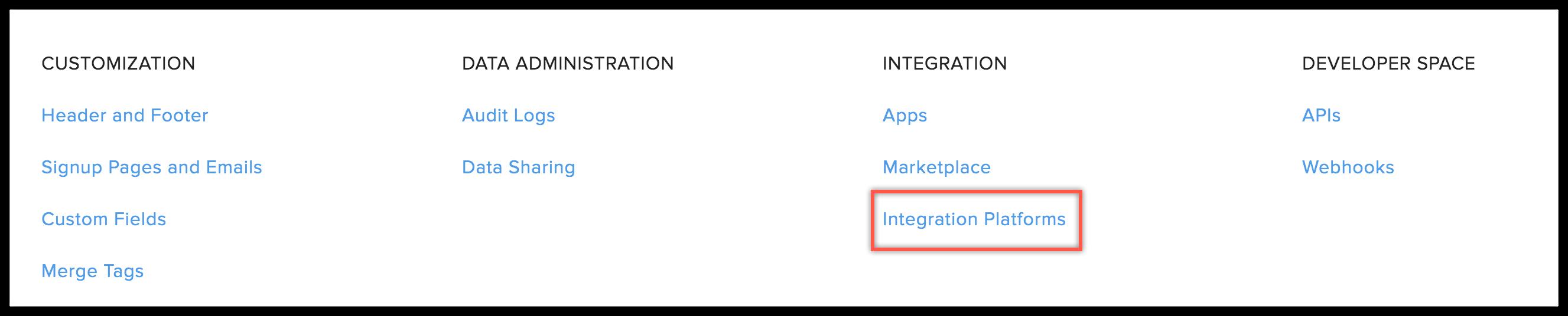 integration platforms menu