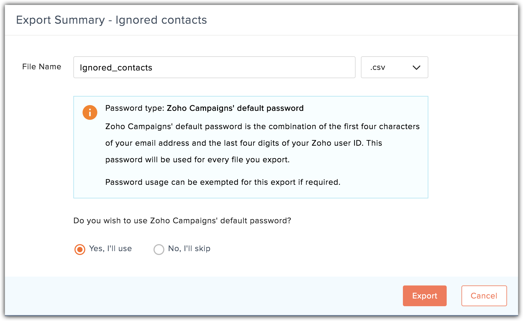 export ignored contacts popup