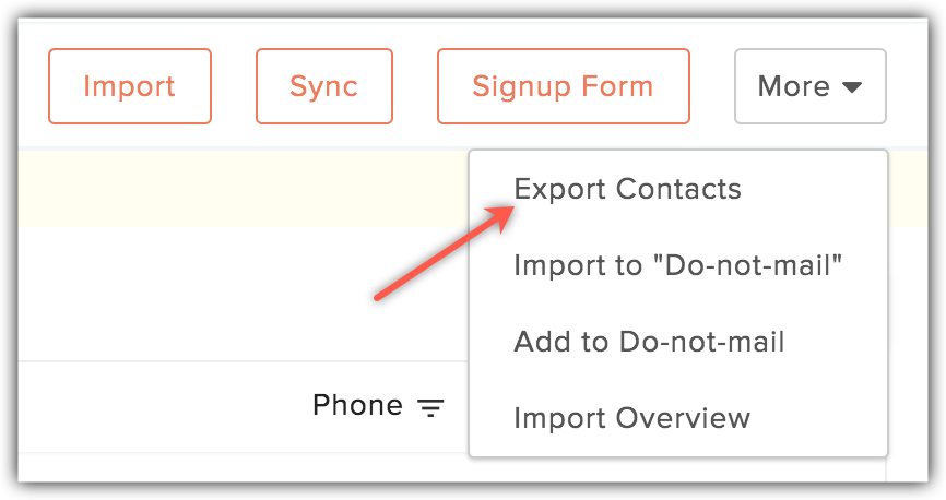 export contacts option