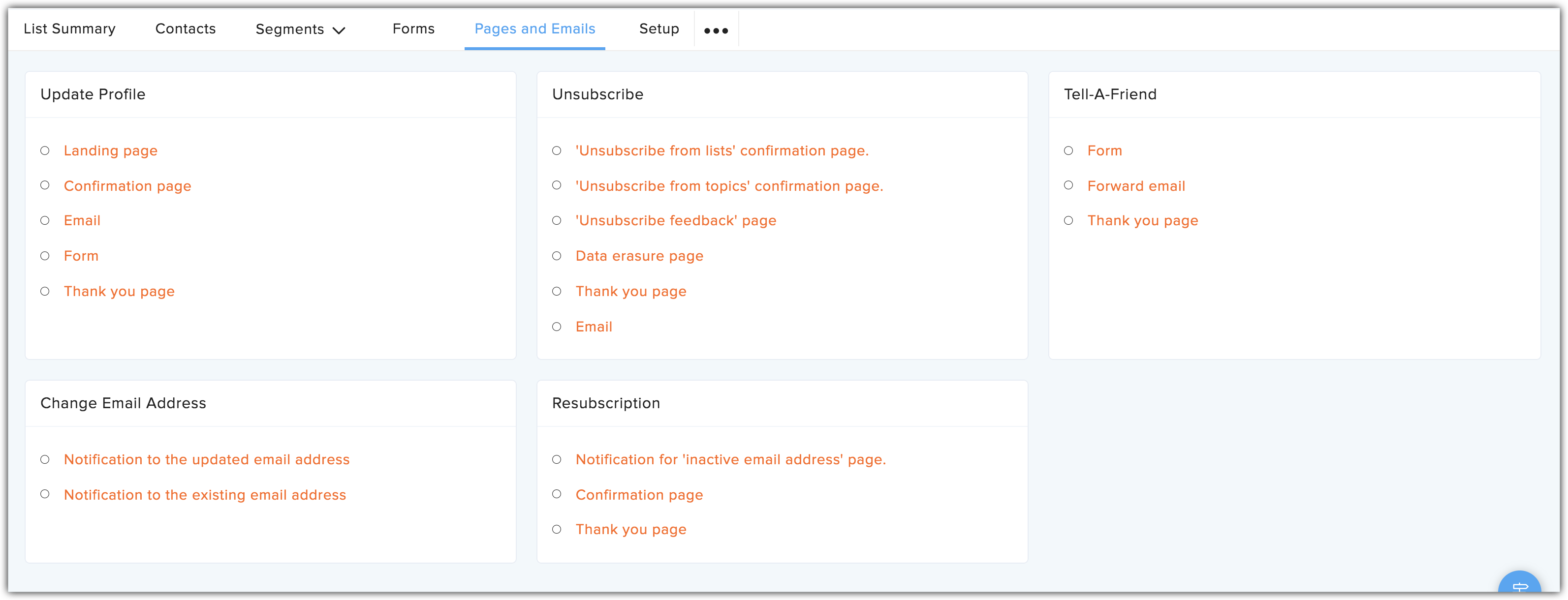 pages and emails tab