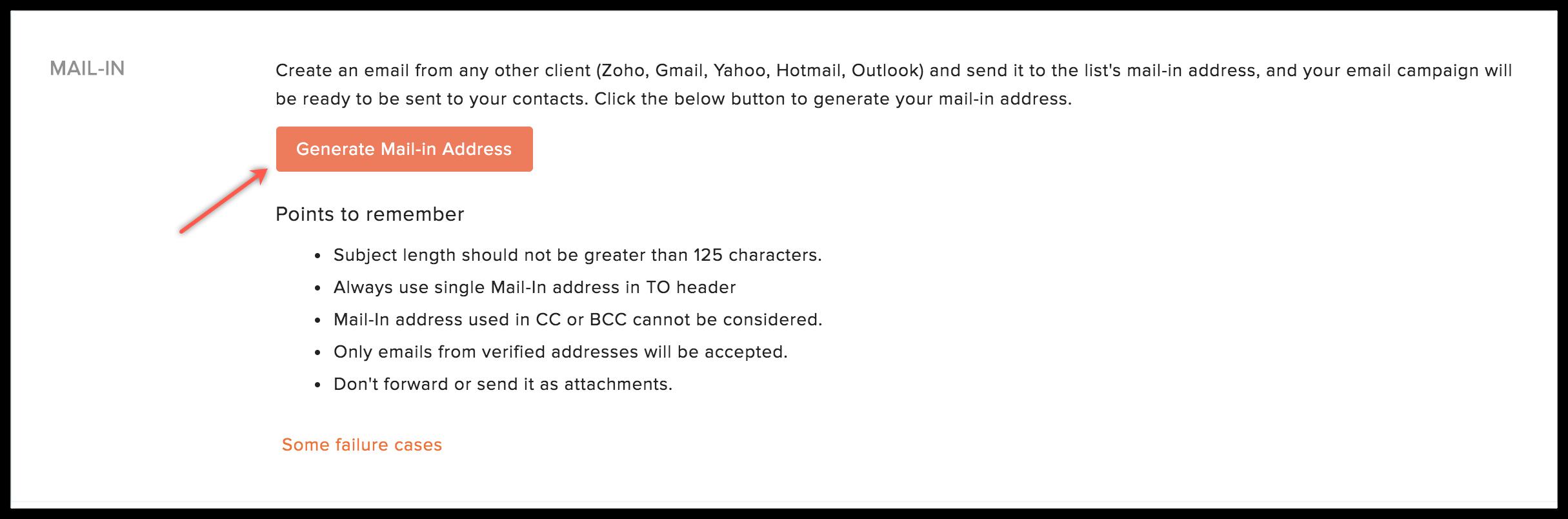 generate mailin address