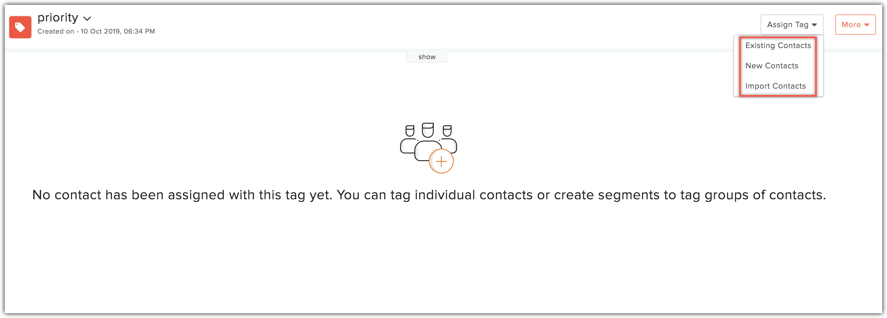 assign contacts options