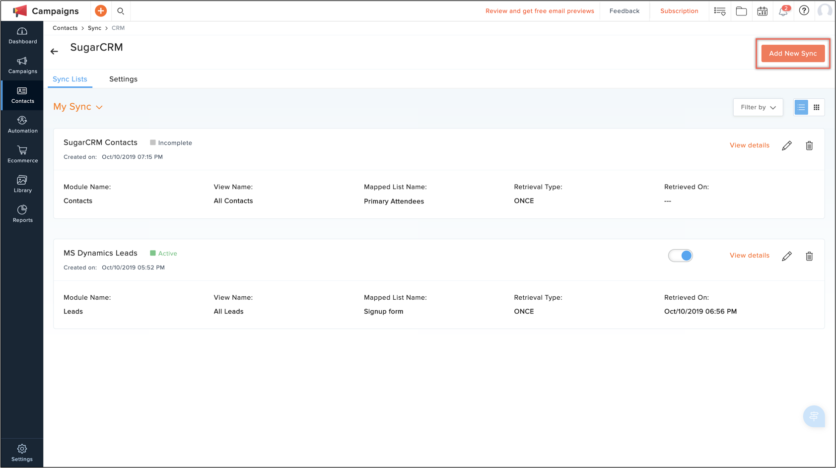 set up sync with sugarcrm