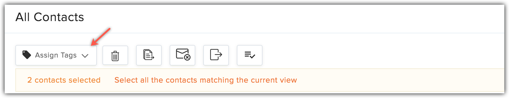 assign tags dropdown