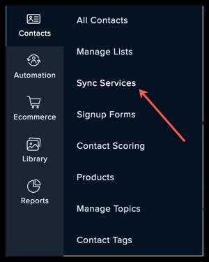 sync services menu