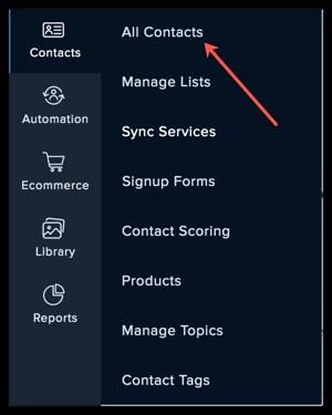 all contacts menu