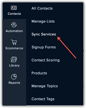 sync services submenu