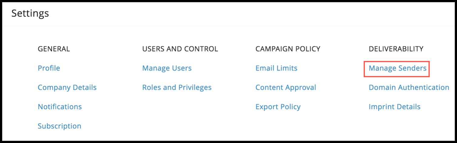 manage senders