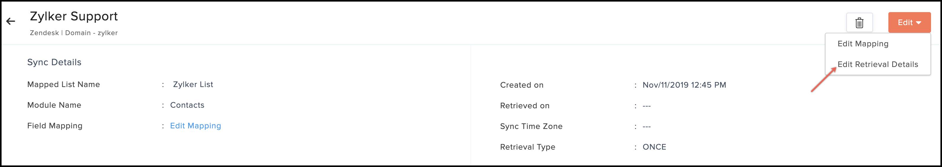 edit retrieval details