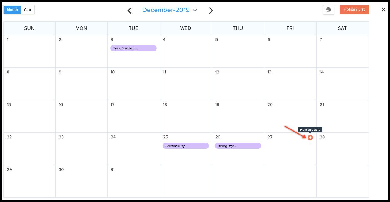 mark date in calendar