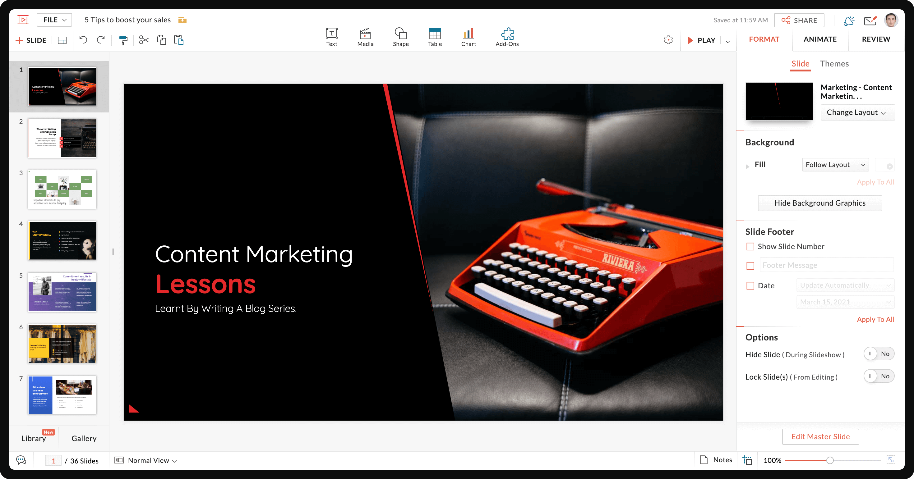 Opens the presentation in the main interface of Show