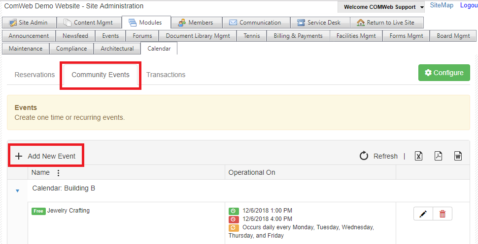 How to Add an Event to the New Calendar Module