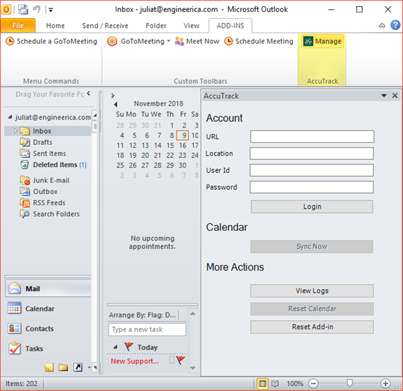 AccuSQL: AccuOutlook Add-On Installation