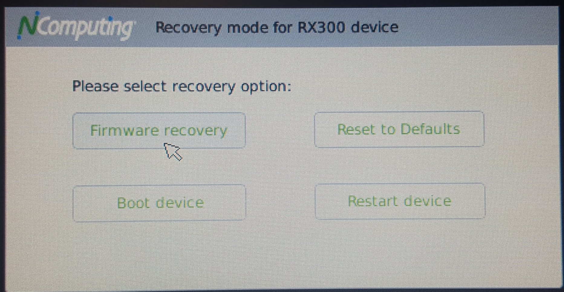 How To Recover the RX300 Firmware Image