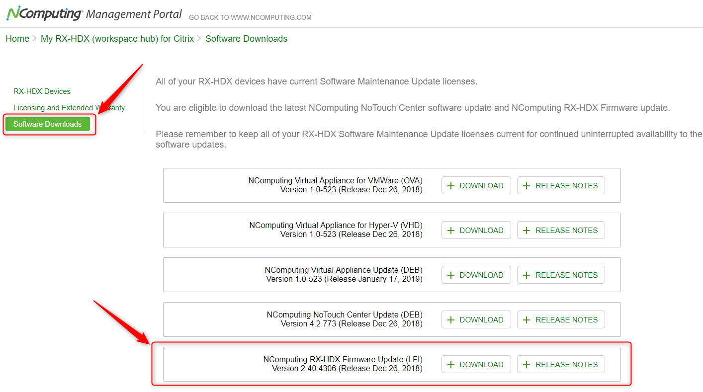 Where do I get Firmware updates for RX-HDX \ WorkSpace Hub devices