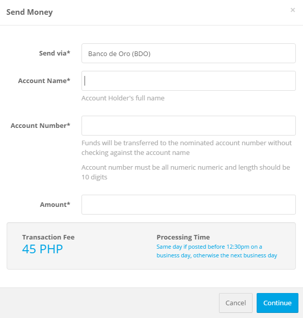 How can I transfer money to a bank via SAL Pay in Employee