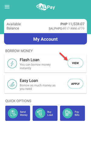 How can I request Flash Loan via the SAL Pay mobile app?