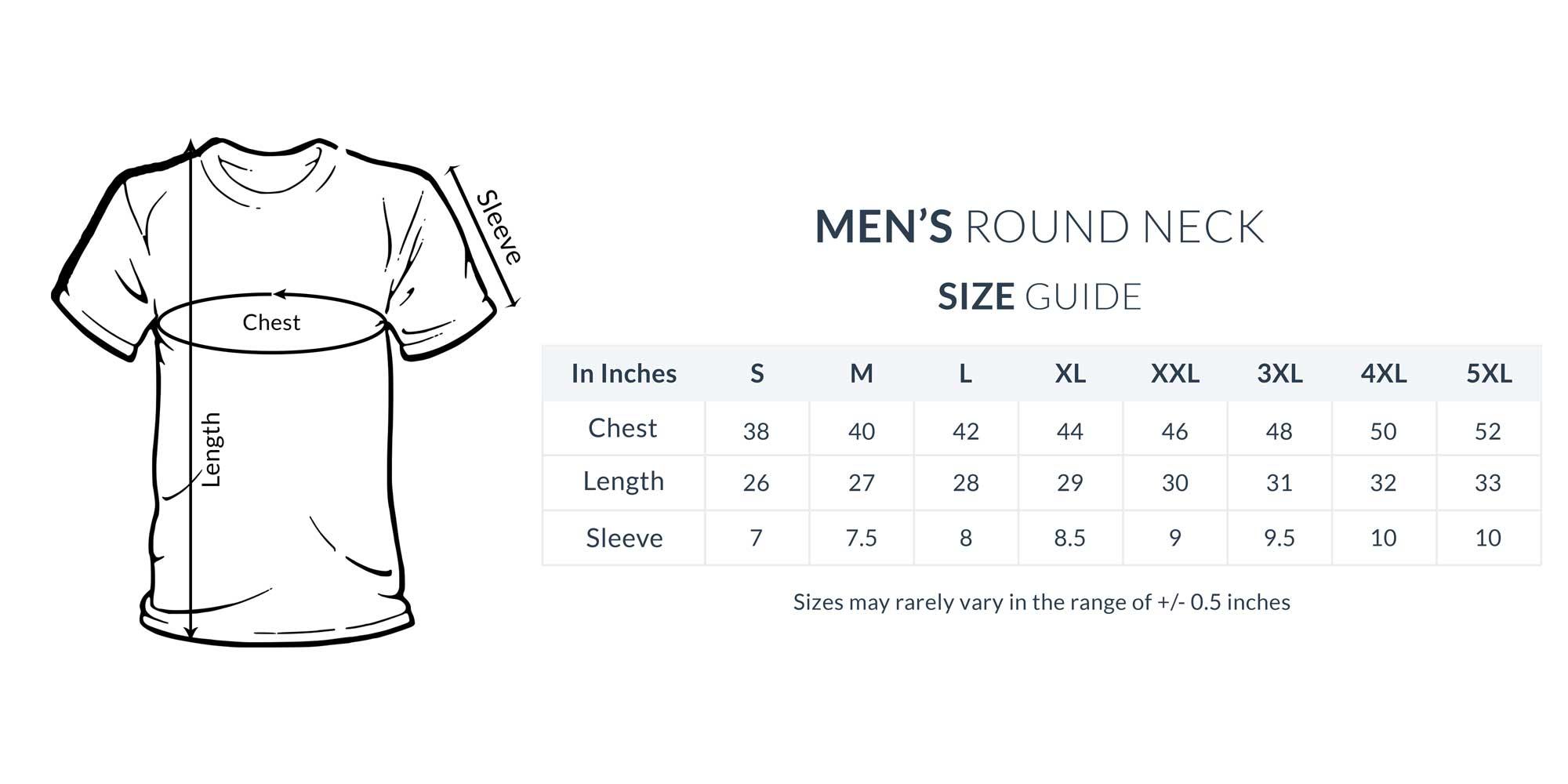 T-Shirt Size Guide/Chart