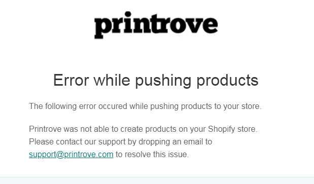 Error while pushing products