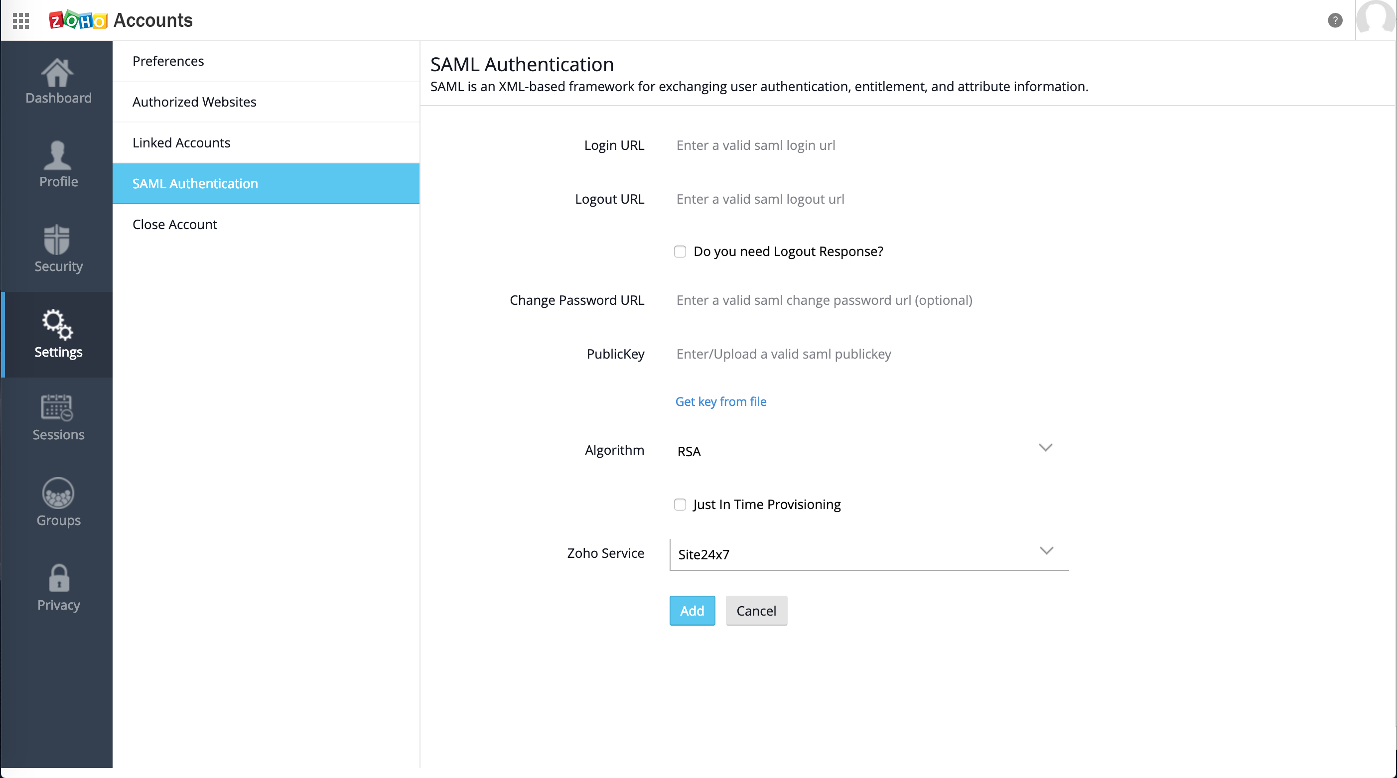 Set up SAML SSO authentication for my Site24x7 account with Okta