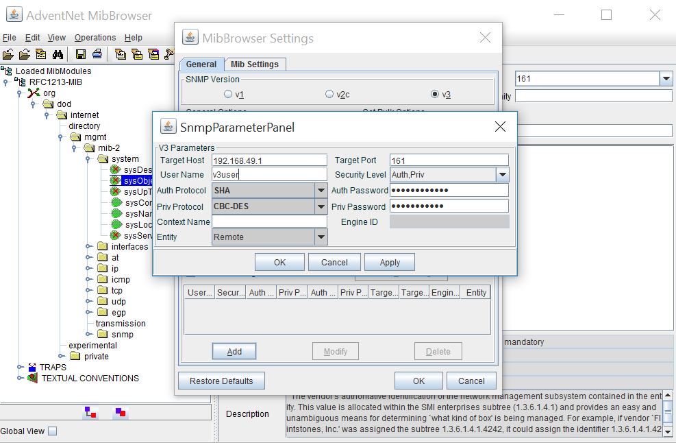 To check the SNMP reachability using MIB browser