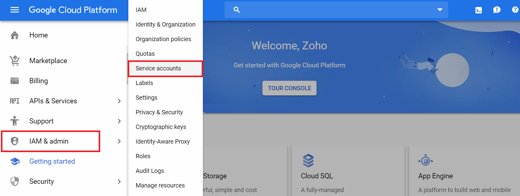 How to create a service account in the GCP console?