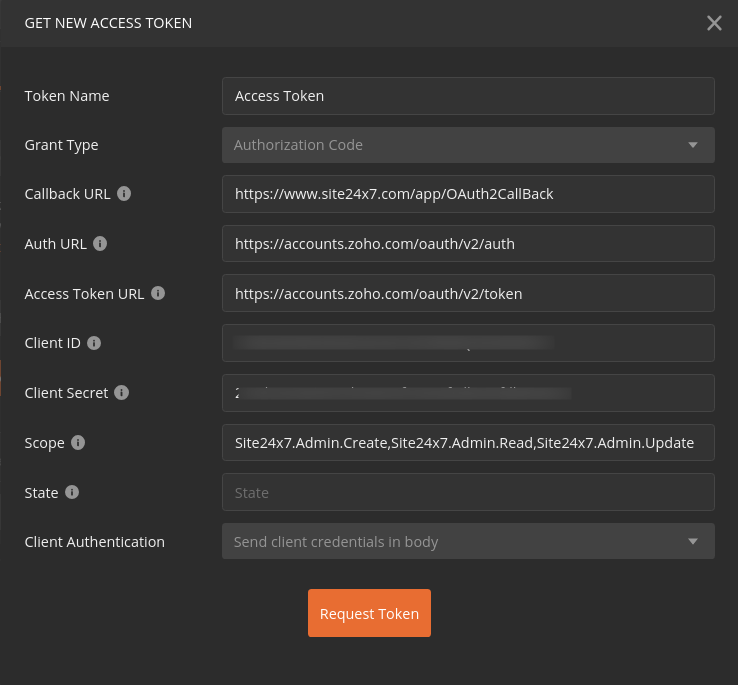 Postman configuration for authorizing Site24x7 requests