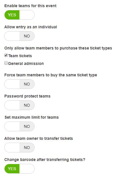 Enable team registrations