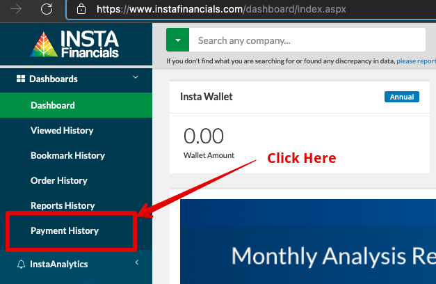 Click on Payment History